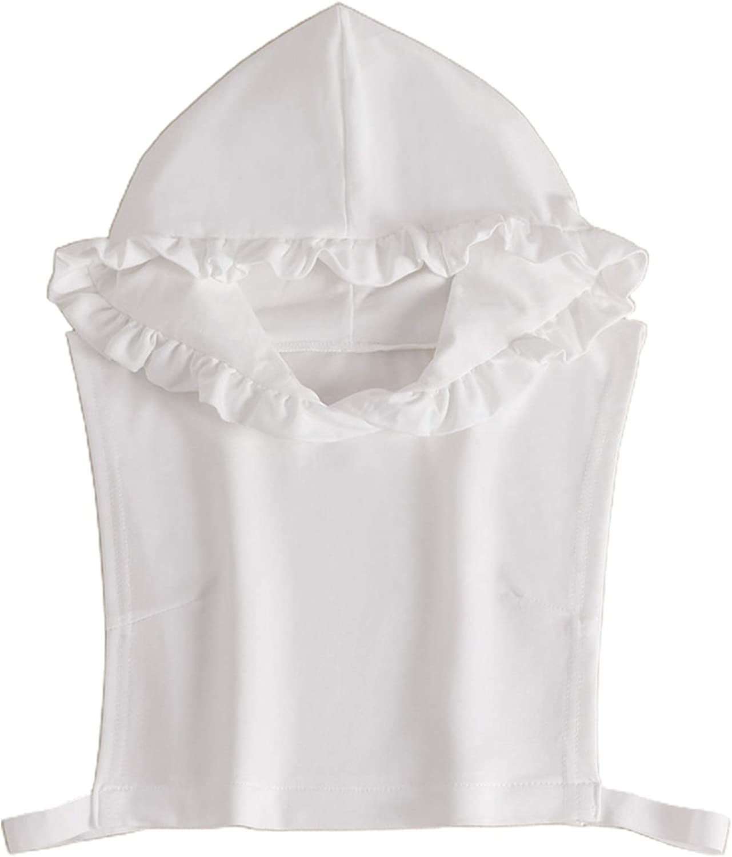 YOUSIKE Sweatshirt Vest, Korean Women Autumn Ruffled Hoodie False Fake Collar Fairy Pullover White Sleeveless Half Shirt Dickey Decorative Clothing Vest Crop Top