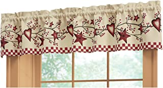 Collections Etc Country Heart Checkered Rod Pocket Window Valance, 71