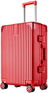 Men's Suitcase Trolley Suitcase Solid Color Traveling Adult Red