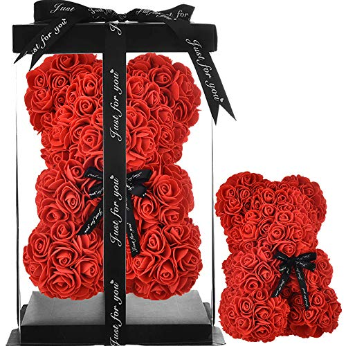 Rose Bear red - Rose Teddy Bear mom gifts for women gifts birthday girlfriend gifts for her Rose Bear Teddy Bear Roses Artificial Rose Flowers bear Display Anniversary Christmas Valentines Gifts (red)