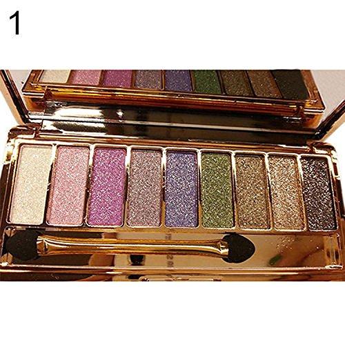 Mymotto Paleta de Sombra de Ojos Brillantes, 9 Colores Maquillaje Impermeable con Pincel Sombras de ojos