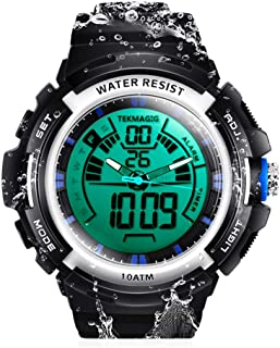 TEKMAGIC 100m Waterproof Submersible Swimming Watch with Alarm and Stopwatch Functions, Support Dual Time Zone Display, 12/24 Hours Format for Men Women Teen Boys Girls