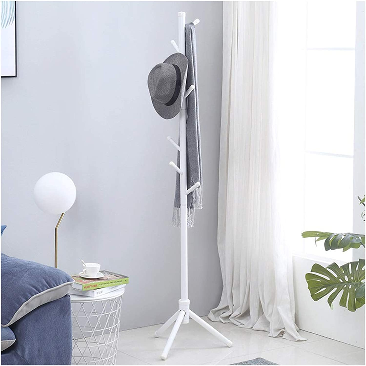 Standing Coat Racks Standing Coat Racks Wooden Coat Rack Stand 8 Hooks Clothes Stand Tree Stylish Wooden Hat Coat Rail Stand Rack Clothes Jacket Storage -0223 (color   White)