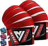 RDX Ginocchio Bandage Powerlifting Ginocchiere Support Tutore, Pesistica Cinghie Fascia Gym Pad,Grande per Allenamento della Forza, Bodybuilding, Ginnastica, Xfit Exercise