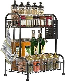 LEFOR·Z Étagère à épices à 2 niveaux pour table de cuisine, organisateur de cuisine pour pots à épices, étagère de rangeme...