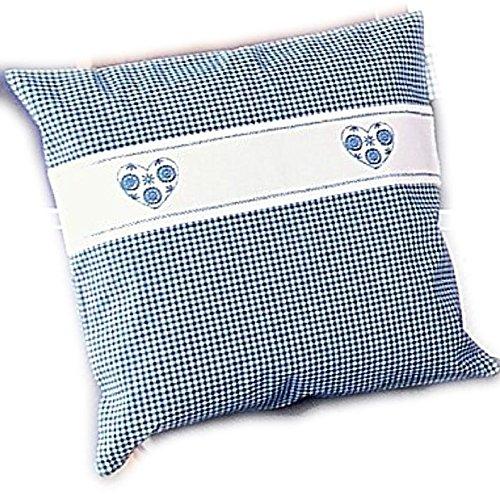Kissenbezug - blau - weiß kariert Stickerei - Herz -