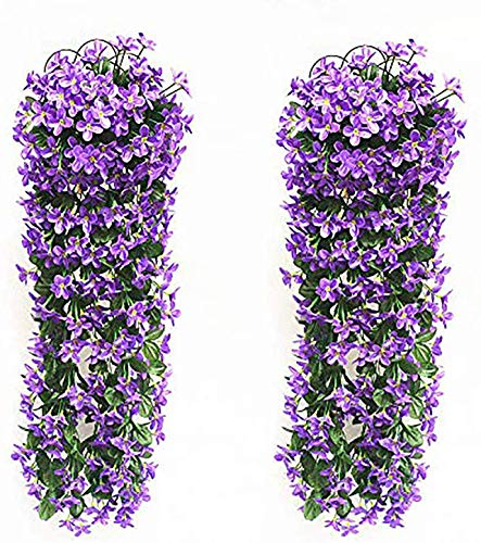 2 Pezzi Fiori Artificiali Pendenti Yizunnu Pianta Glicine Finta/Fiori Glicine/Glicine Artificiale /Piante Finte da Appendere/Piante Rampicanti Glicine/700 mm/Wedding Decor-Viola