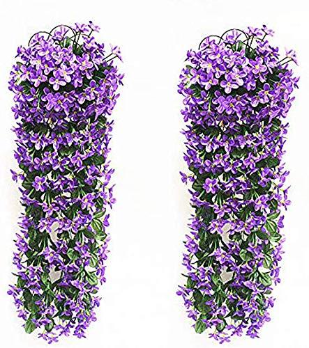 2 Pezzi Fiori Artificiali Pendenti LMYTech Pianta Glicine Finta/Fiori Glicine/Glicine Artificiale Bianco/Piante Finte da Appendere/Piante Rampicanti Glicine/700 mm/Wedding Decor-Viola