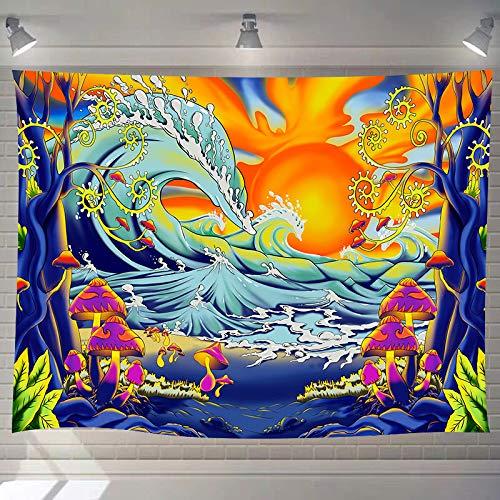 DBLLF Hippie Ocean Wave Tapestry Fantasy Mushroom Tree Tapestry, Large 92.5'x 70.9' Flannel Art Tapestries Fantasy Ocean Wave with Sunset Tapestry, for Living Room Bedroom Dorm GTXYDB37