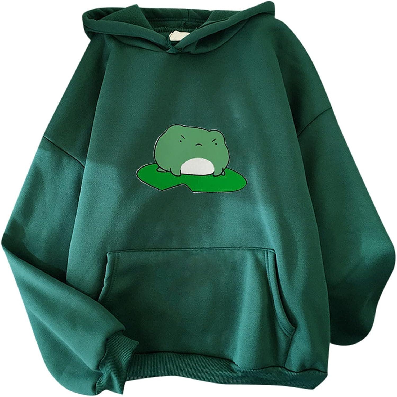 Hoodies for Women,Women's Frog Hoodies Sweatshirt Long Sleeve Kawaii Tops Cartoon Cute Teens Girls Casual Pullover Blouses