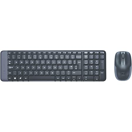 Logitech MK220 Combo Teclado y Ratón Inalámbrico para Windows, Disposición QWERTY US Internacional, Negro