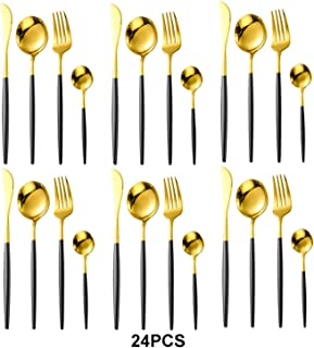 24 pièces/ensemble dîner en acier inoxydable ensemble de vaisselle en or noir couteau fourchette cuillère à café couverts ...