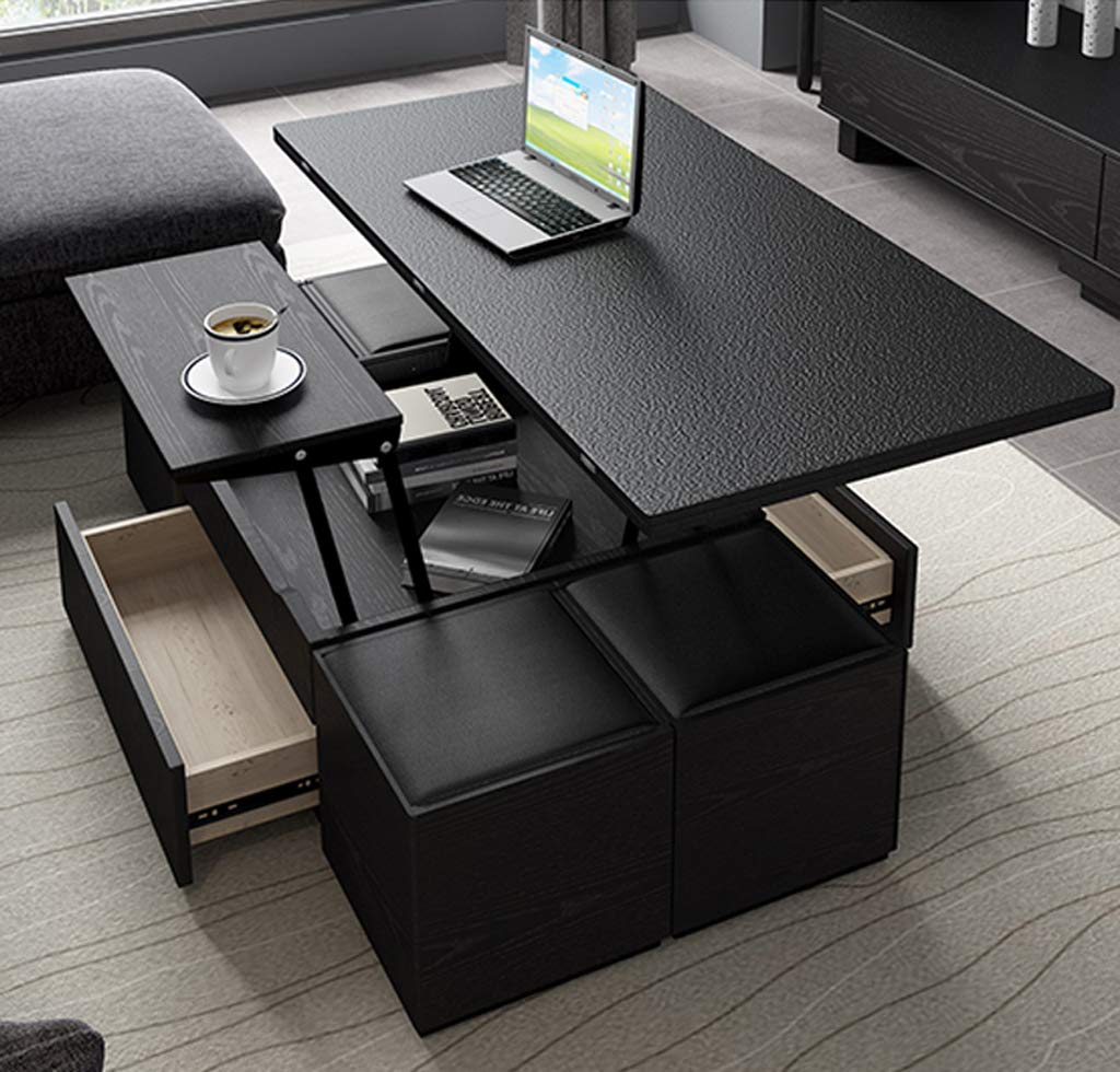 Amazon Com Multi Function Lift Coffee Table Foldable Dining Table For Living Room Dining And Office With 4 Storage Benches Marble Countertop Furniture Decor [ 980 x 1024 Pixel ]