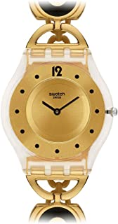 Swatch Women's SFW106G Caring Swing Year-Round Analog Quartz Gold Watch