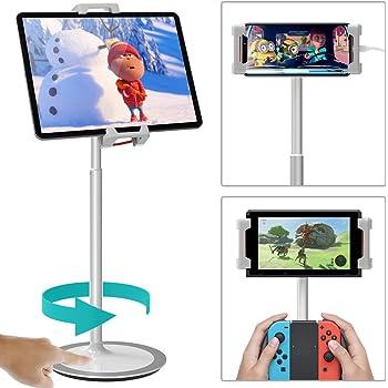 タブレットスタンド「良い評価・安定度抜群&使い勝手良し!」 KlearLook スマートフォン・(i)PAD・Nintendo Switchスタンド 卓上 揺れず頑丈な金属製台座 360度回転自由に調整可能 持ち運びやすい 4.7~12.9インチ対応 (タブレットスタンド)