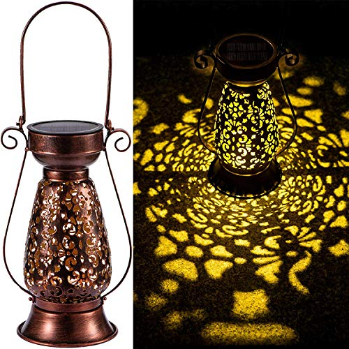 LeiDrail Solarlaterne für draußen Weihnachten LED Garden Light Metal für draußen hängen Solarbetriebene Lichter Dekorative wasserdichte Lampe Tragbar für Weihnachten Patio Table Courtyard Brown 1 Pack