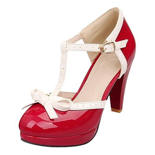 Vitalo Womens High Heel Platform Pumps with Bows Vintage T Bar Court Shoes