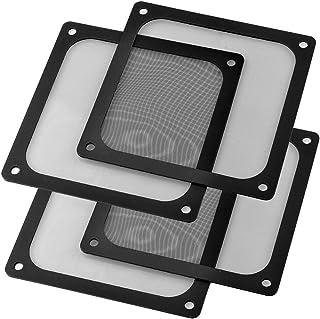 S SIENOC 4 x 120mm Filtro de Polvo Filtro de Ventilador de Ordenador Cubierta Antipolvo Negra de Magnético PVC Malla de Or...
