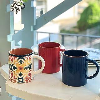 マグカップ (ティー/コーヒー兼用) (レッド) LISBOA 素焼き テラコッタ ポルトガル 南米系 南欧 MARIA オリジナル コーヒーカップ コップ 食器 かわいい 可愛い おしゃれ お洒落 インスタ映え