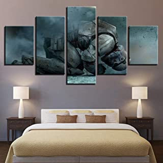Fbhfbh Printed Modern Canvas Living Room Picture Home Decor 5 Panel Star Wars Painting Wall Artwork Modular Hd Poster Frame-16X24/32/40Inch,with Frame