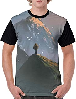 Man's T Shirts,Trekker Man Standing at The Top of Mountain with Flying White Birds Painting Style