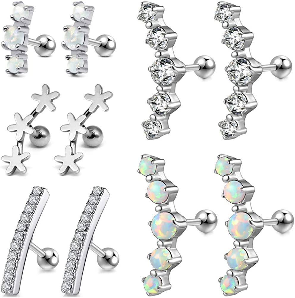 JFORYOU 16G 5 Pairs Cartilage Earring Surgical Steel Curved Long CZ Helix Conch Daith Piercing Jewelry for Women Girls