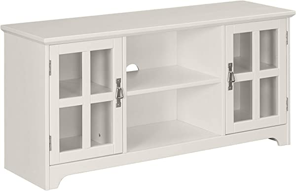 Ravenna Home Peterson Modern Glass Cabinet Storage TV Media Entertainment Stand 46 W White