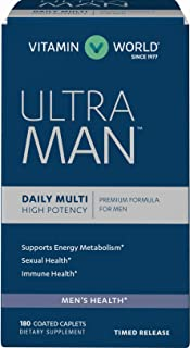 Vitamin World Ultra Man Daily Multivitamins 180 caplets, Energy Metabolism Support, Immune Health, Antioxidant Support, Coated, Timed-Release