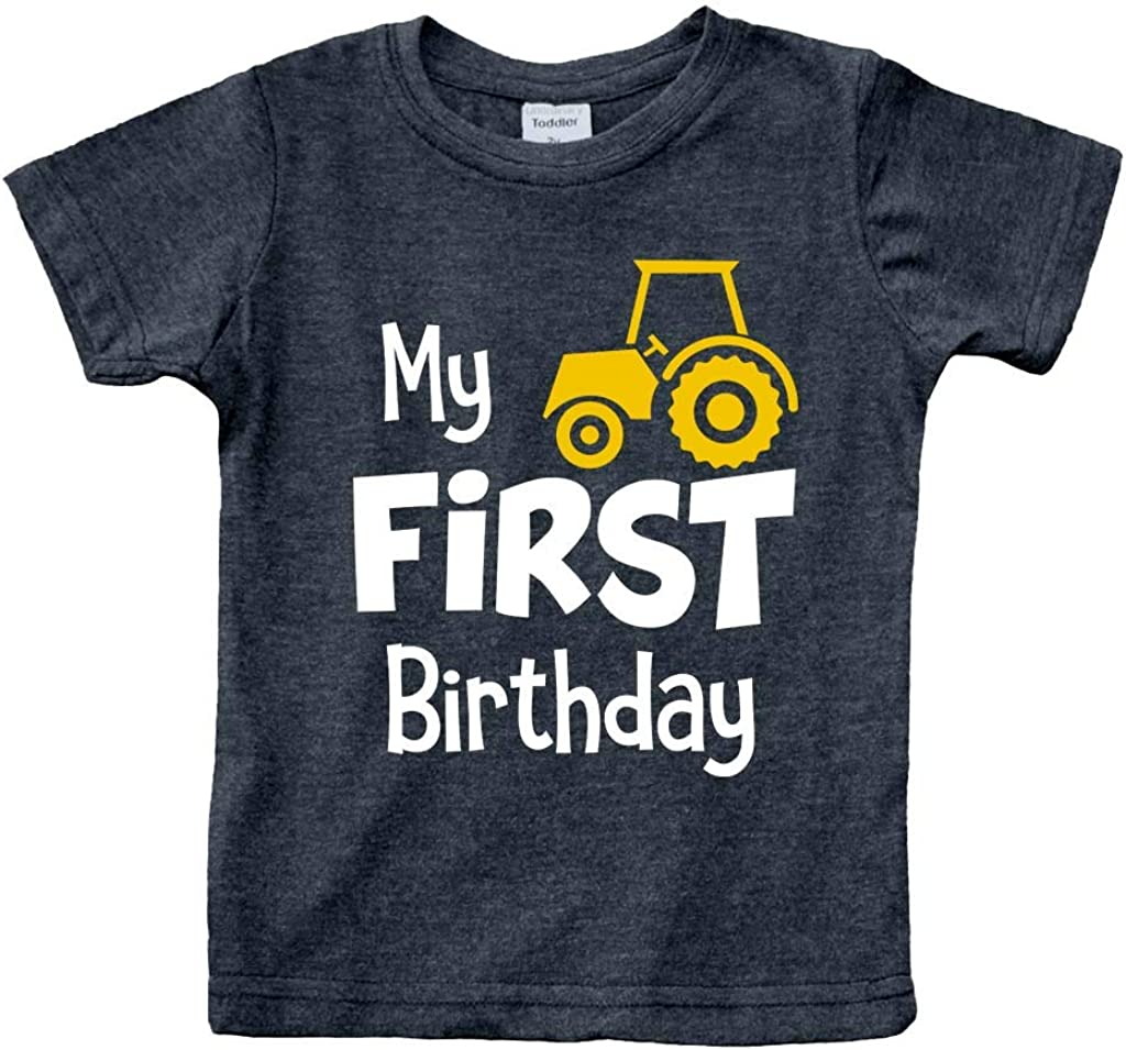 First Birthday boy Outfit My 1st Tractor Shirt Construction one Year Old Gifts