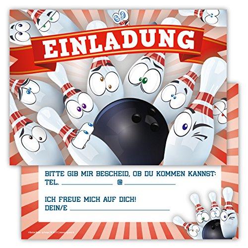 12 Lustige Einladungskarten im Set für Kindergeburtstag Bowling Party für Jungen Mädchen Kinder Kegeln Partyspiele Karten Pins Emoji Smiley witzig