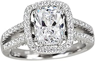 Sterling Silver mm Emerald Cut Dbl Halo Split Shank Cathedral Cubic Zirconia Engagement Ring