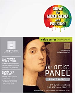 Ampersand Artist Panel Primed Smooth Surface for Painting, Pouring and Mixed-Media, 3/8 Inch Depth, 8x10 Inch (PWP9M0810)