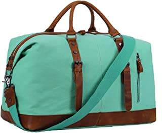 Overnight Bag Women Ladies Travel Duffel Genuine Leather Weekender Tote (Mint Green)