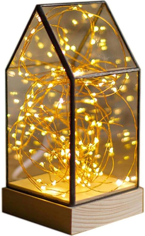 DENGS Holzbasis Glasabdeckung Nachtlicht LED-Dekoration Romantisch Kreatives Geschenk 10  23cm, 2 B078V5M6NK | Creative