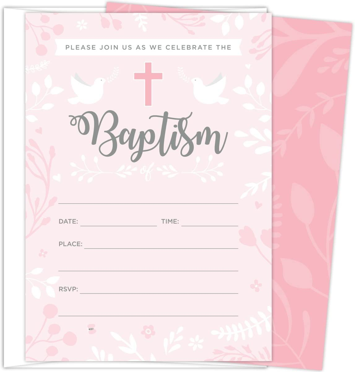 Baptism Invitations for Baby Girls, 25 Fill In The Blank Style Cards and Envelopes.