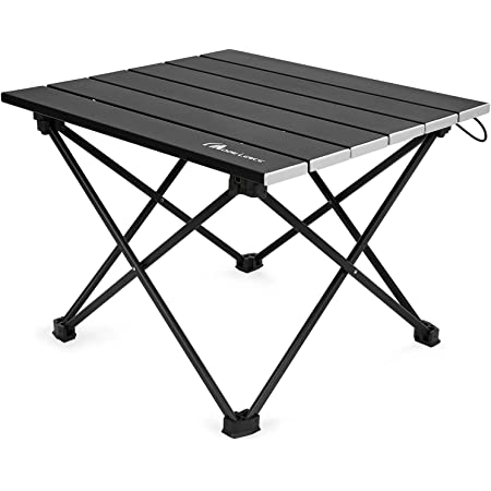 Moon Lence キャンプテーブル アルミ ロールテーブル アウトドア ハイキング BBQ 折りたたみ式 コンパクト 超軽量 収納袋つき