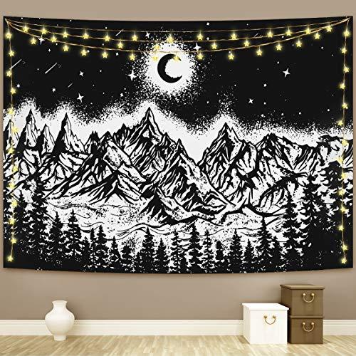 Tapiz para colgar en la pared de Tick Tocking Moon Mountain Tapices para colgar en la pared, decoración del hogar para dormitorio, sala de estar (Luna Mountain, M/130 cm x 150 cm)