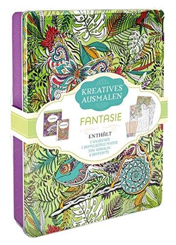 Kreatives ausmalen - Fantasie: Box mit Malblock, Malbuch, Malposter & 8 Buntstiften