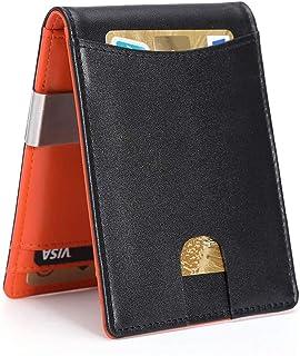 Carteras para Hombre RFID que Bloquean el Dinero Clip de Doble Pliegue Delgado Genuino Billetera de Cuero para Hombres con...