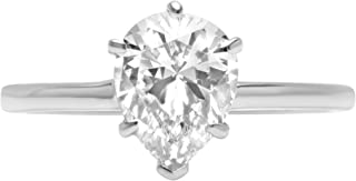 1.0 ct Brilliant Pear Cut Solitaire Highest Quality Lab Created White Sapphire Ideal VVS1 D 6-Prong Engagement Wedding Bridal Promise Anniversary Ring Solid Real 14k White Gold for Women