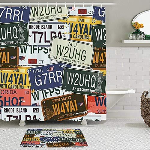 CVSANALA 2 Piece Shower Curtain Set with Non-Slip Bath Mat,Vintage Original Retro Style License Plates Personalized Creative Travel Vacation,12 Hooks,Personalized Bathroom Decor