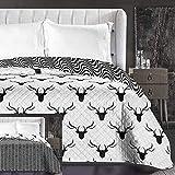 DecoKing 86353 Tagesdecke 240 x 260 cm schwarz weiß Bettüberwurf zweiseitig leicht zu pflegen Hirsch Deer Black White Hypnosis Collection Deerest