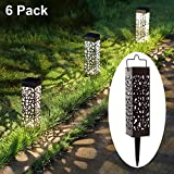 MAGGIFT 6 Pack Outdoor Dual-use Solar Pathway Lights Upgrade Brown Stainless Steel Solar LED Lantern with Handle, 8 Lumen Bright Garden Light, Patio Lawn Driveway Landscape Decorations, Warm White