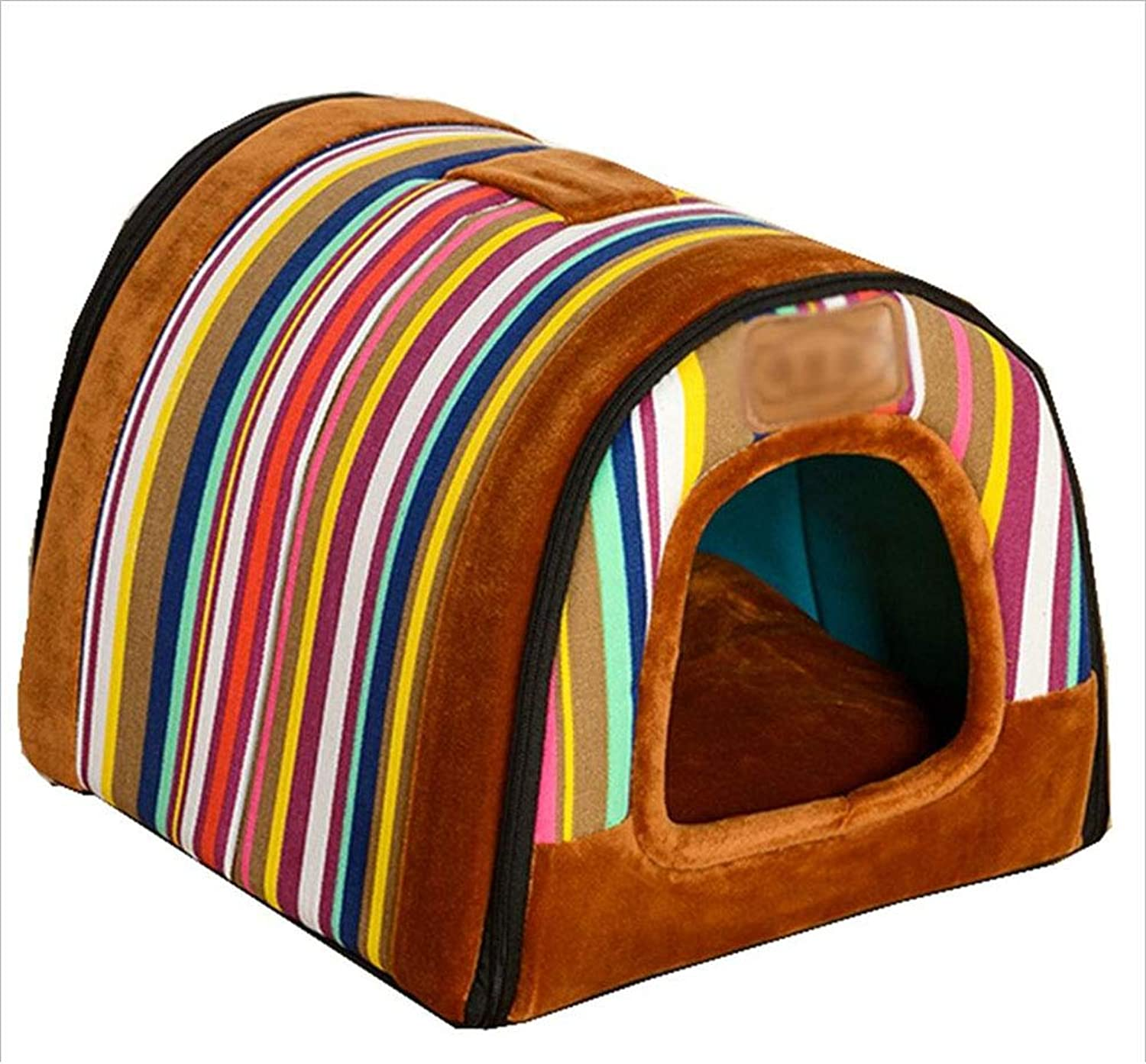 Cat Nest Pet Bed Cat Kennel Pet Sofa Pet Nest Dog Nest Kennel Removable and Washable Indoor Thickening Mat AntiSlip Haiming (color   Rainbow l)