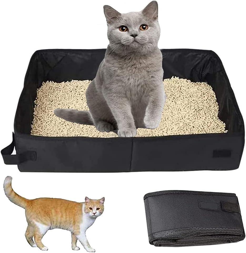 Caja de Arena para Gatos, Caja de Arena para Mascotas, Arenero para Gatos, Caja de Arena para Gatos, Bandeja de Arena para Mascotas, para Interior, Viaje, Camping, Parque (Negro)