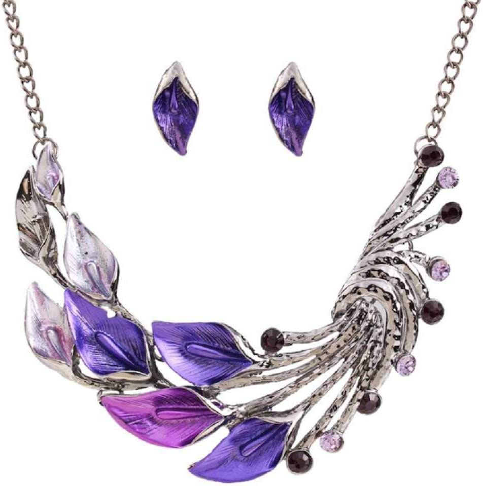 MERSDW Europe and The United States Retro Necklace Color Drop Necklace and Diamond Curved Leaves Pendant Sweater Chain Short Suit Fashion Peacock Necklace Earrings Set High-end Jewelry Set (Purple)