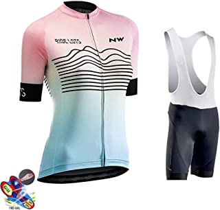 Cycling Jersey Women Short Sleeve + 19D Gel Padded Shorts MTB Sportswear Summer Breathable Quick-Dry for Outdoor Sport,B,5XL