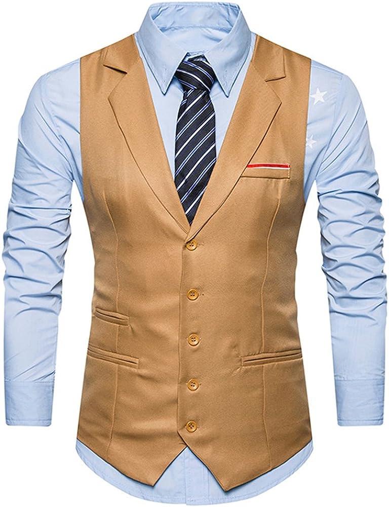 C2S Men's Lapel Lapel Single Breasted 5 Buttons Solid Business Suit Vest