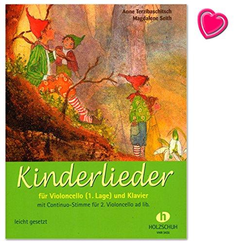 Kinderliedjes voor violoncello en piano - gemakkelijk geplaatst - Autor: Anne Terzibachh - notenboek met kleurrijke hartvormige muziekklem
