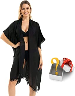 Womens Fashion Floral Print Swimsuit Kimono Tassel Casual Loose Beach Cover up
